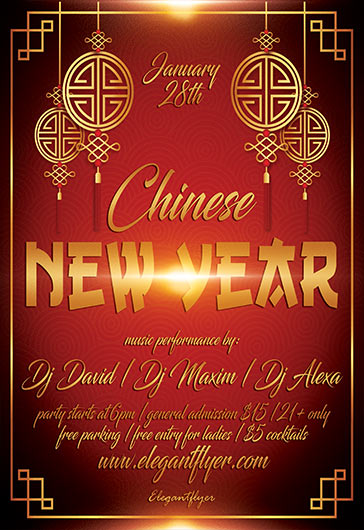chinese new year night flyer psd template