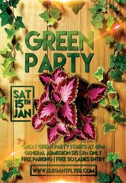 Green Party – Flyer PSD Template + Facebook Cover