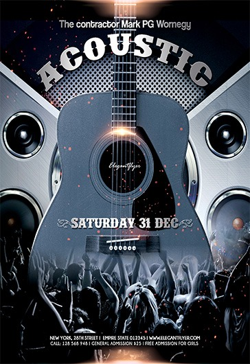 Acoustic Concert  Flyer Psd Template  Facebook Cover  By