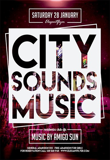 City Sounds Music – Free Flyer PSD Template + Facebook Cover