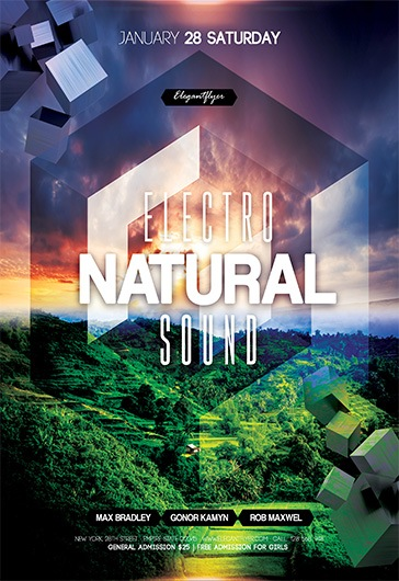 Electro Natural Sound – Flyer PSD Template