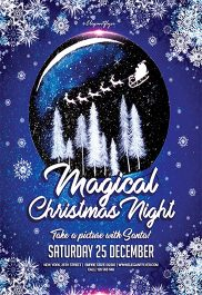 Magical Christmas Night – Flyer PSD Template + Facebook Cover