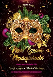 New Year's Masquerade – Flyer PSD Template + Facebook Cover