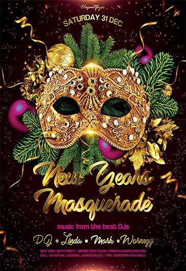 new years masquerade flyer psd template by elegantflyer