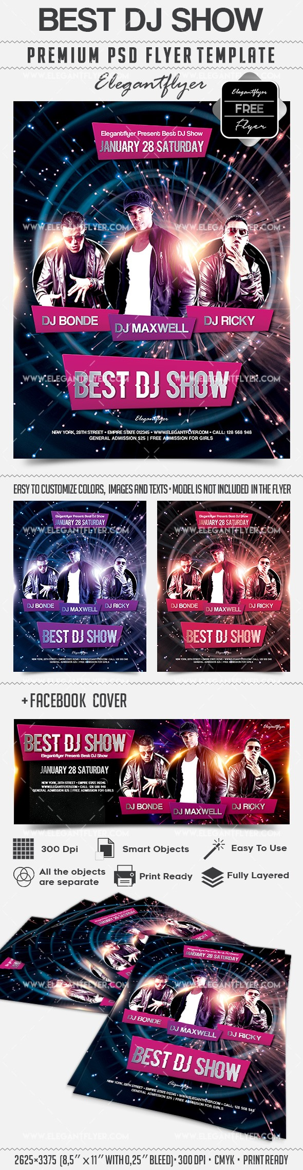 Best DJ Show – Free Flyer PSD Template + Facebook Cover