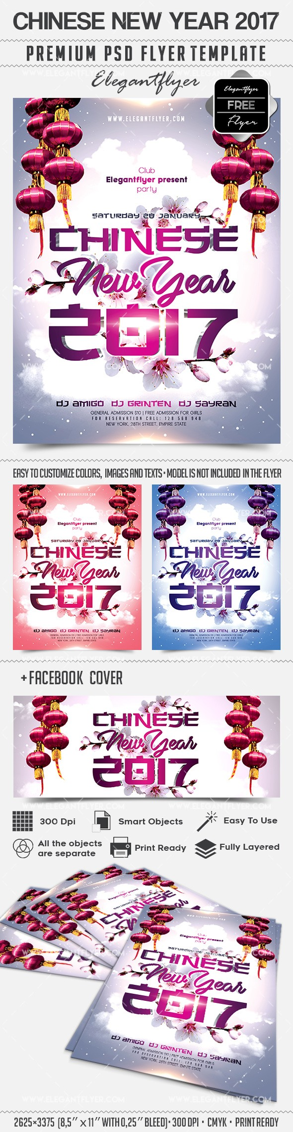 Chinese New Year 2017 – Free Flyer PSD Template + Facebook Cover