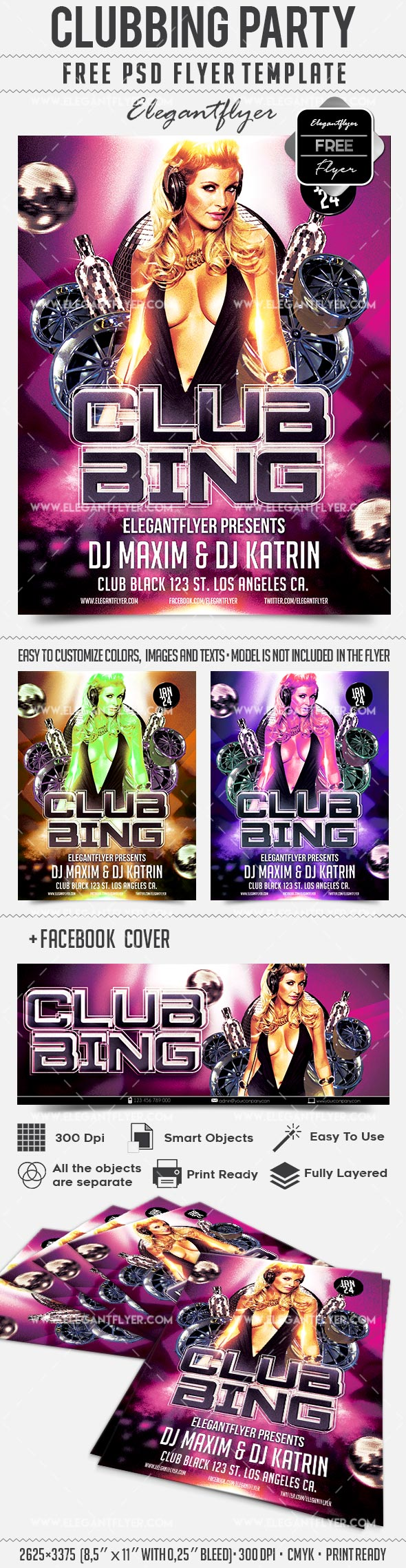 Clubbing Party – Free Flyer PSD Template + Facebook Cover