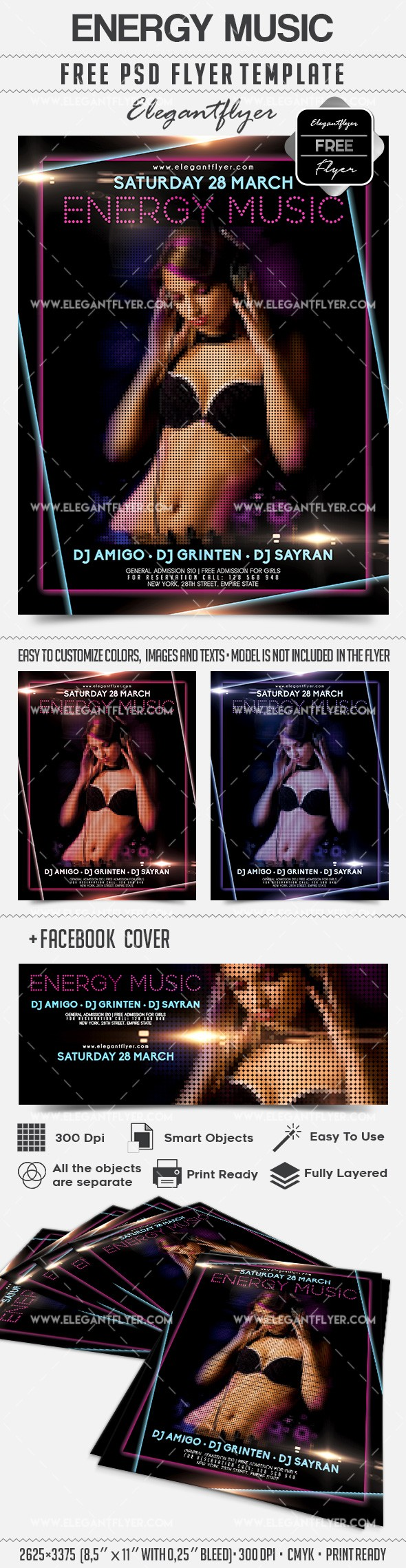 Energy Music – Free Flyer PSD Template