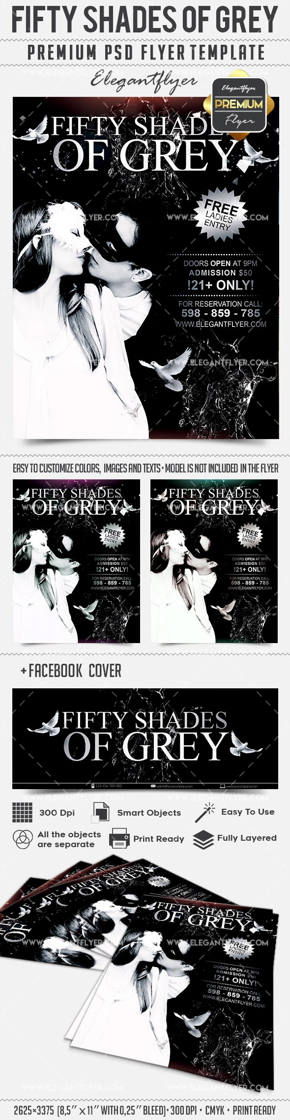 Fifty Shades of Grey – Flyer PSD Template