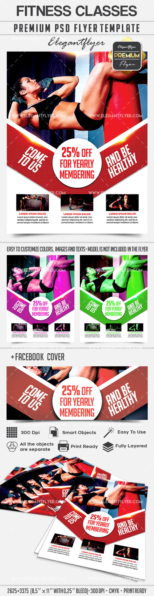 Fitness Classes – Flyer PSD Template