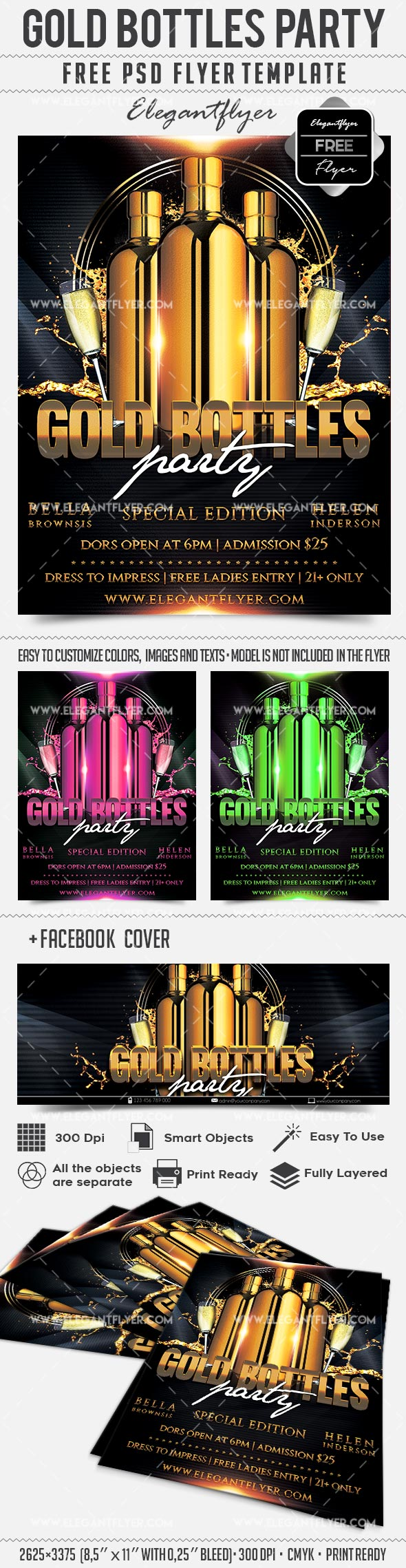 Gold Bottle Party – Free Flyer PSD Template + Facebook Cover
