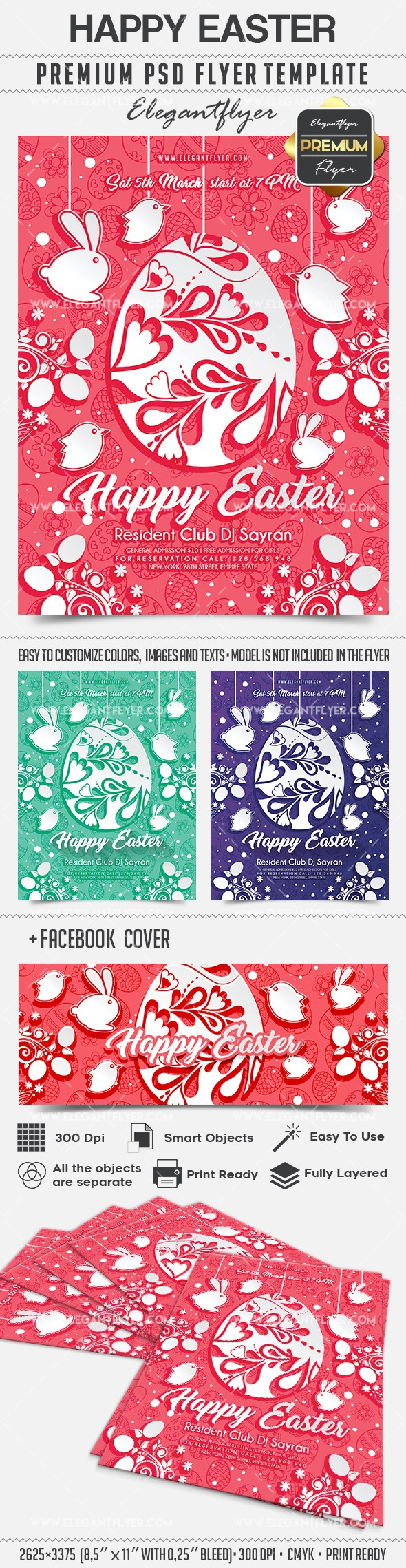 Happy Easter Greetings PSD Template