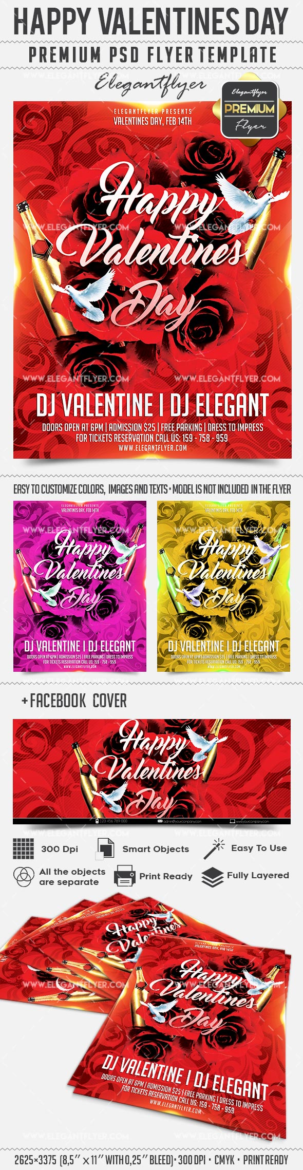 Happy Valentine Day – Flyer PSD Template + Facebook Cover