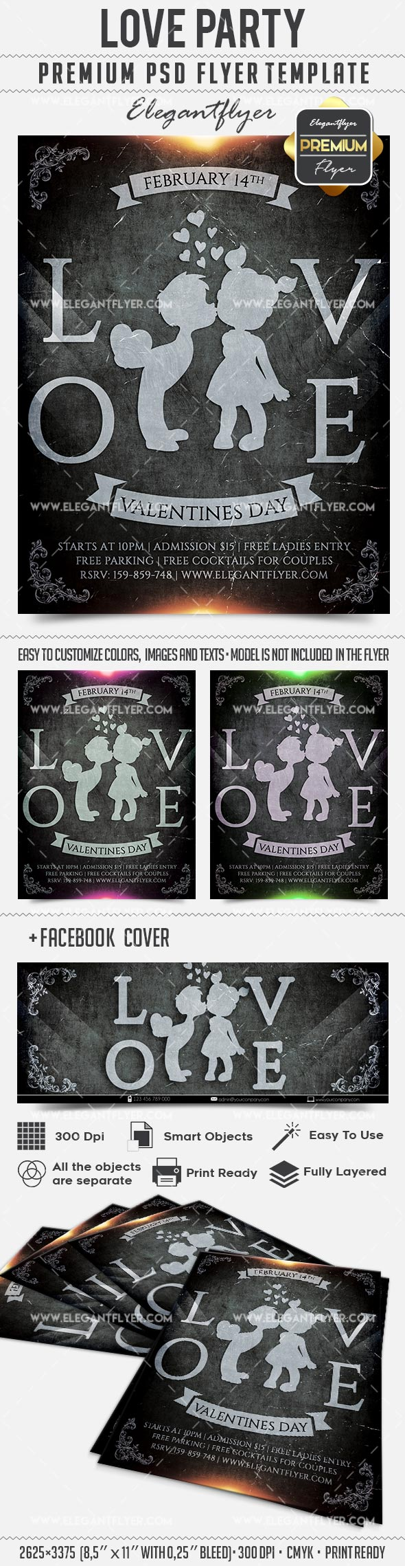 Love Party – Flyer PSD Template + Facebook Cover