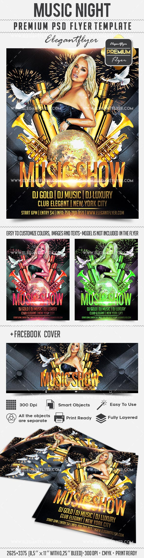 Music Show – Flyer PSD Template + Facebook Cover
