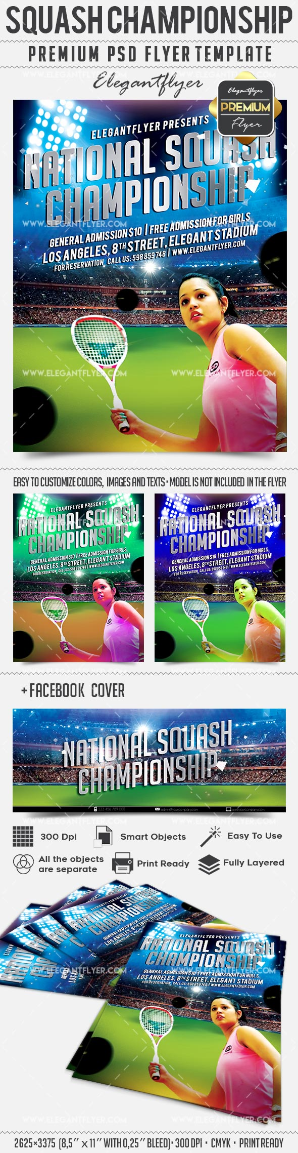 National Squash Championship – Flyer PSD Template