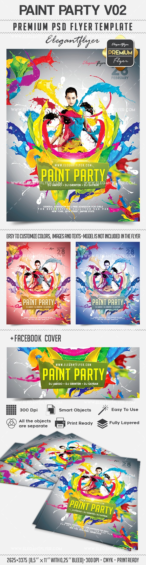 Paint Party V02 – Flyer PSD Template + Facebook Cover