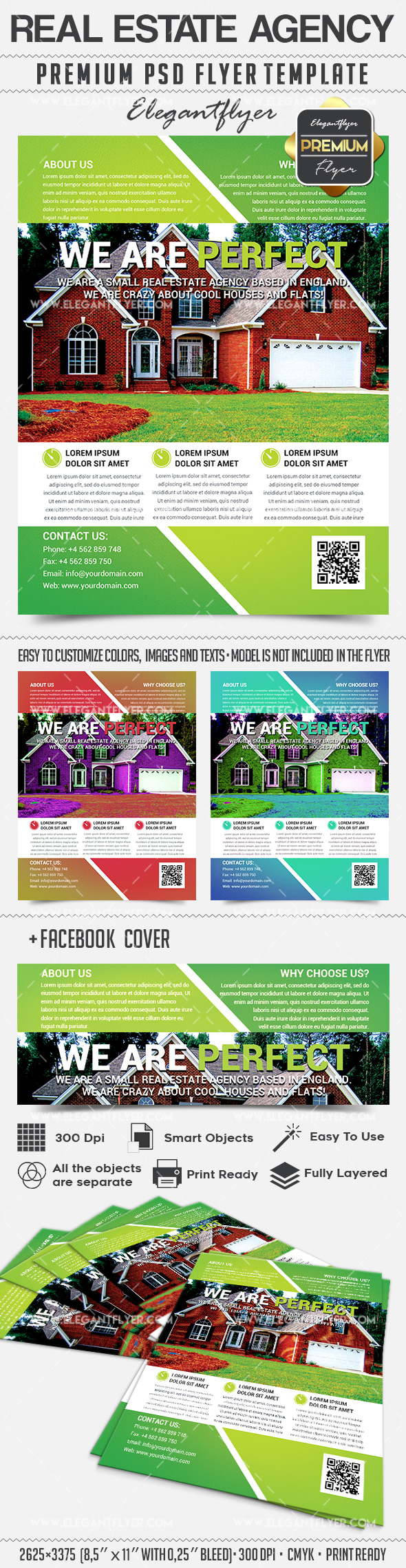 real estate agent brochure templates - real estate agency flyer psd template by elegantflyer