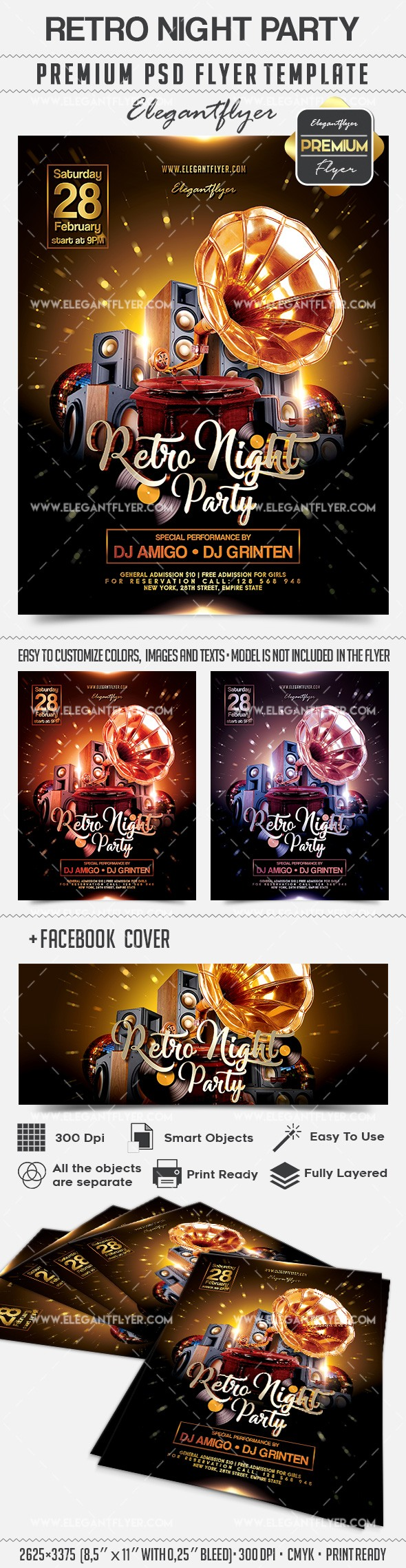 Retro Night Party – Flyer PSD Template