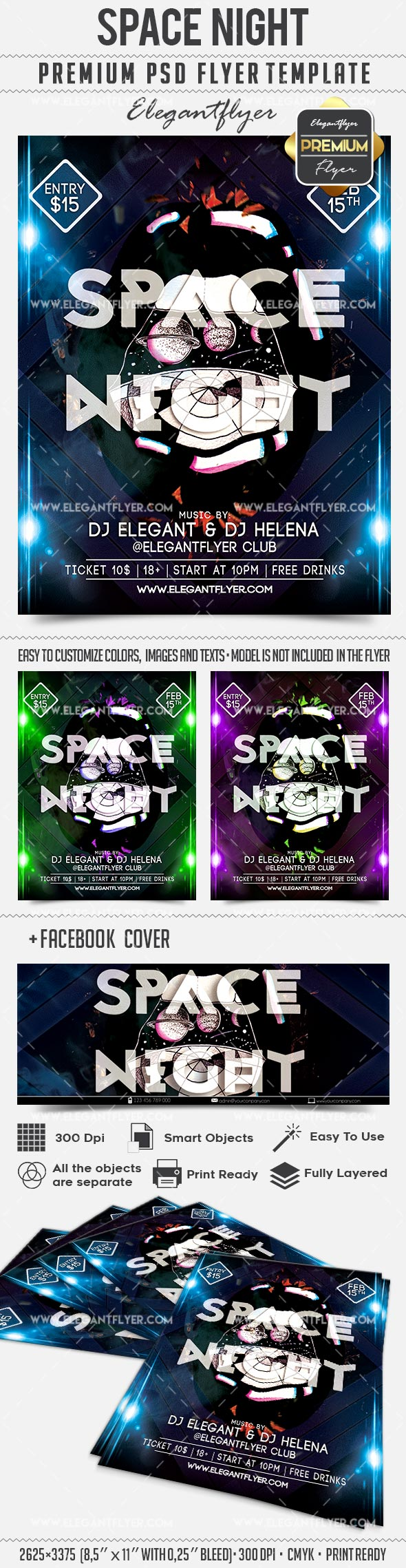 Space Night Club Flyer
