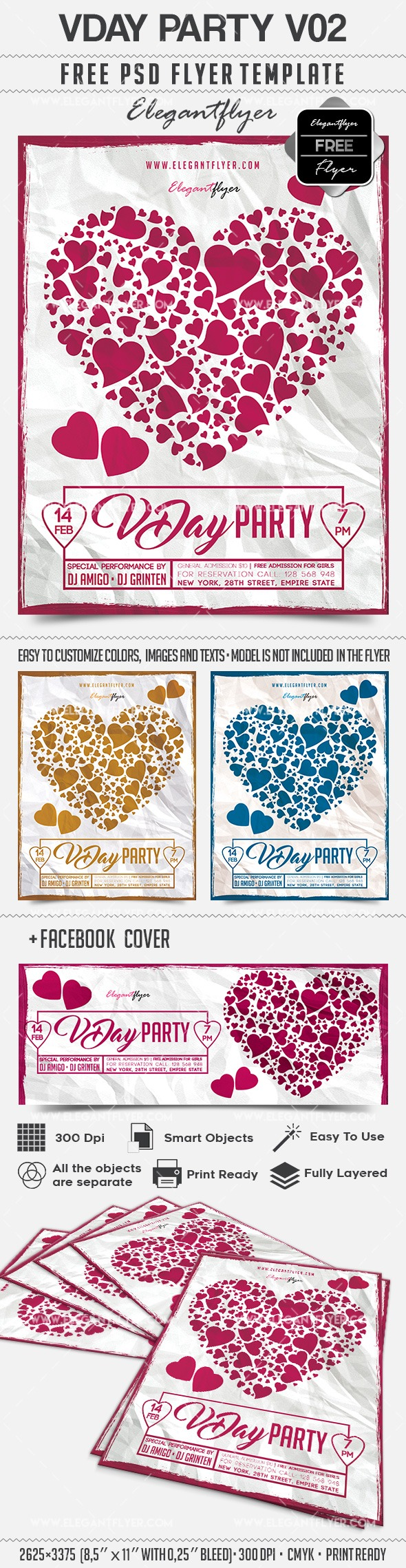 VDay Party V02 – Free Flyer PSD Template