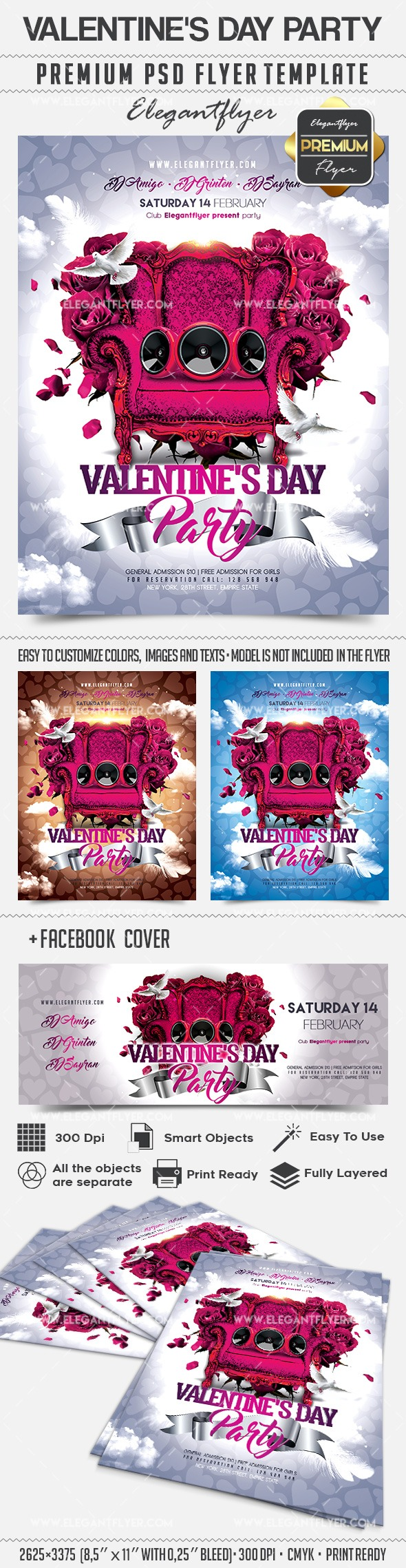 Valentine's Day Party – Flyer PSD Template + Facebook Cover