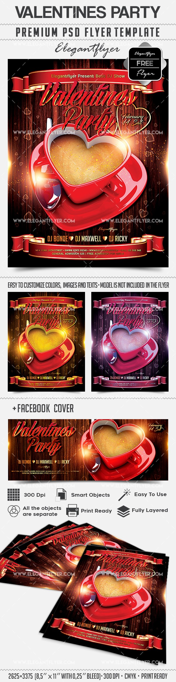Valentines Party – Free Flyer PSD Template + Facebook Cover