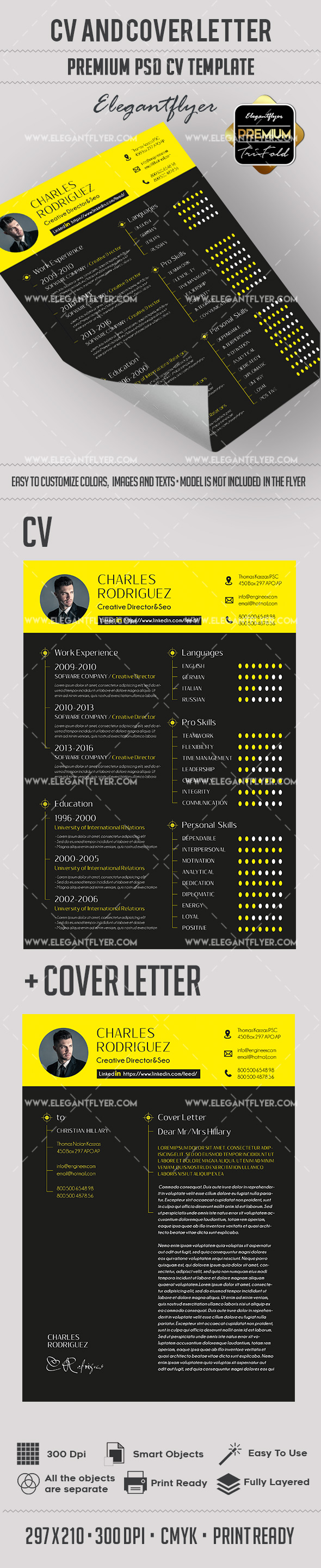Black & Yellow Resume Template + CV and Cover Letter