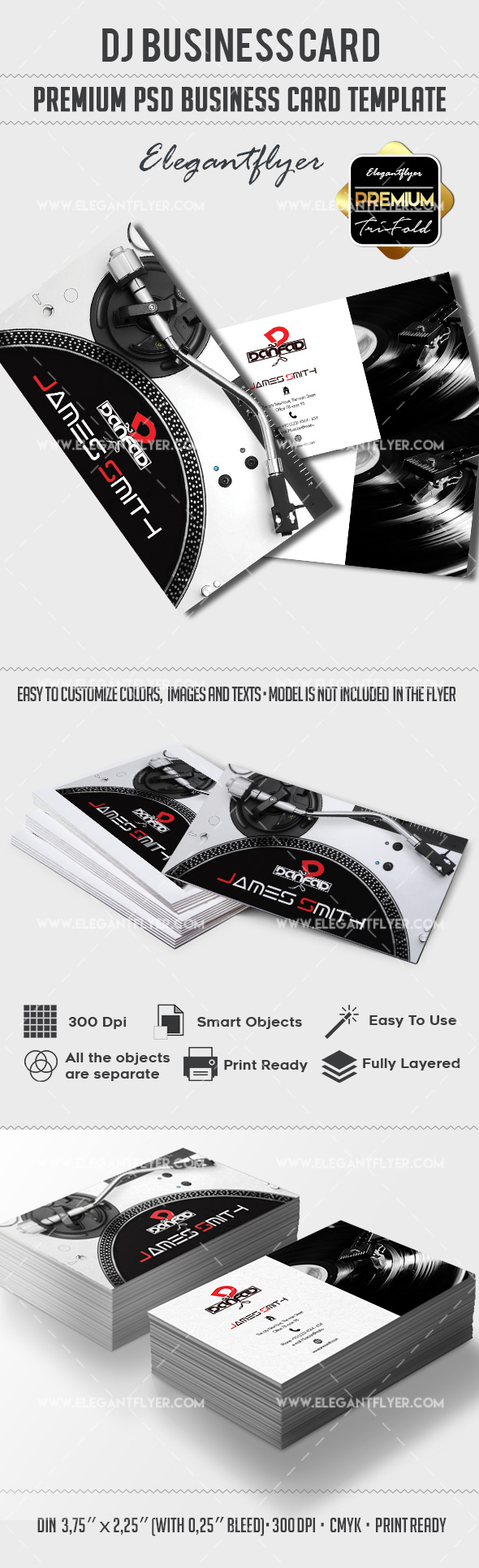 Dj premium business card psd template by elegantflyer dj premium business card psd template reheart Choice Image