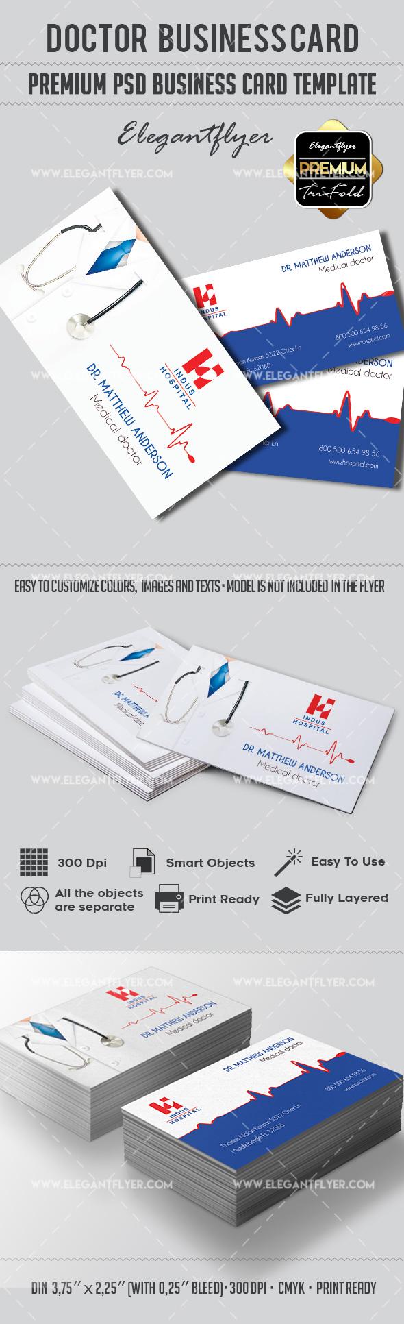 Doctor – Premium Business card PSD Template – by ElegantFlyer