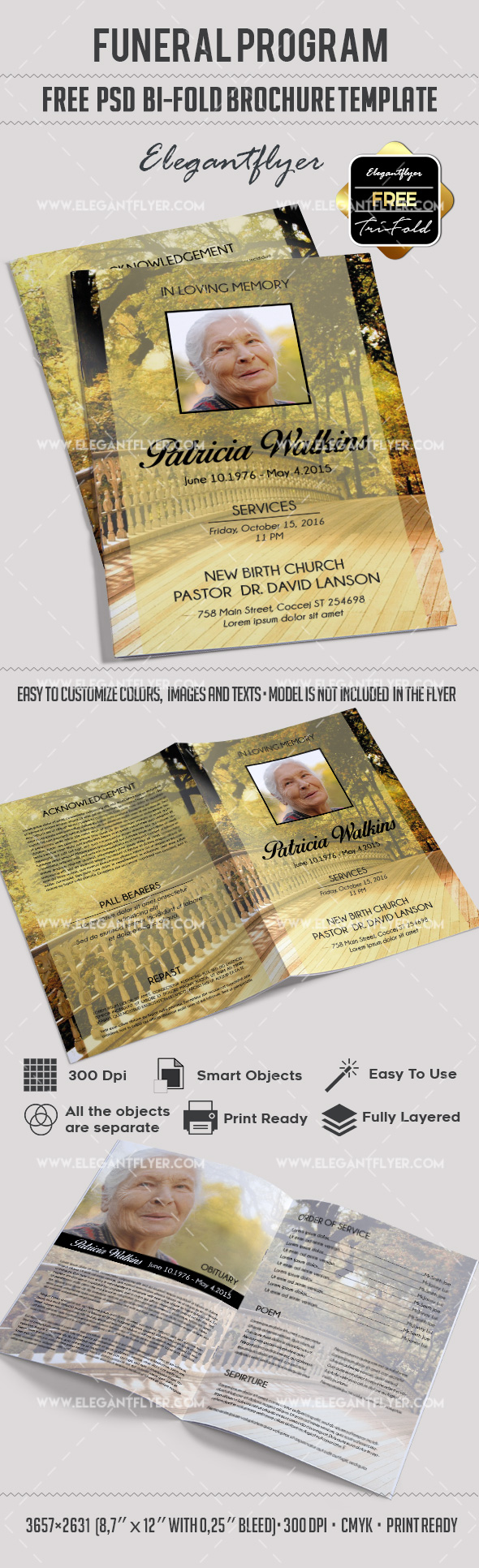 Funeral Program Templates Free Bi-Fold Brochure