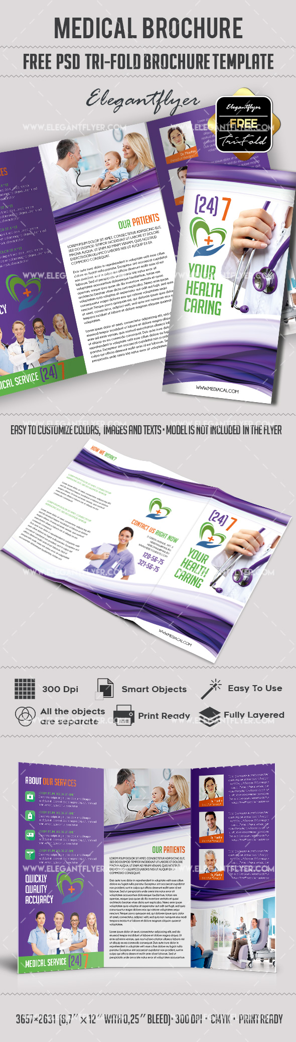 Medical free tri fold psd brochure template by for Free printable tri fold brochure template