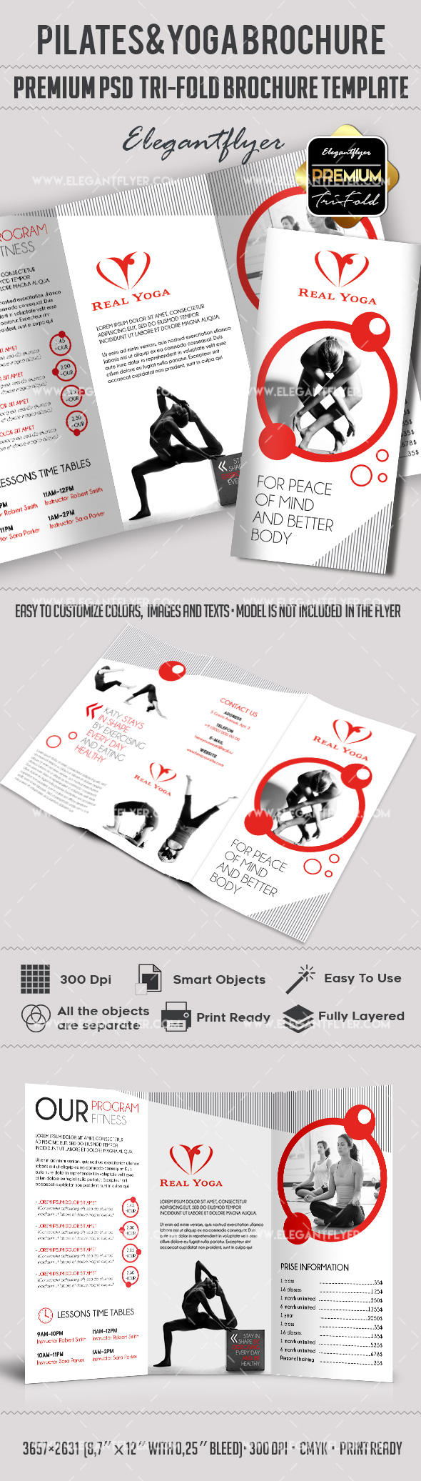 Tri-Fold PSD Brochure for Pilates and Yoga