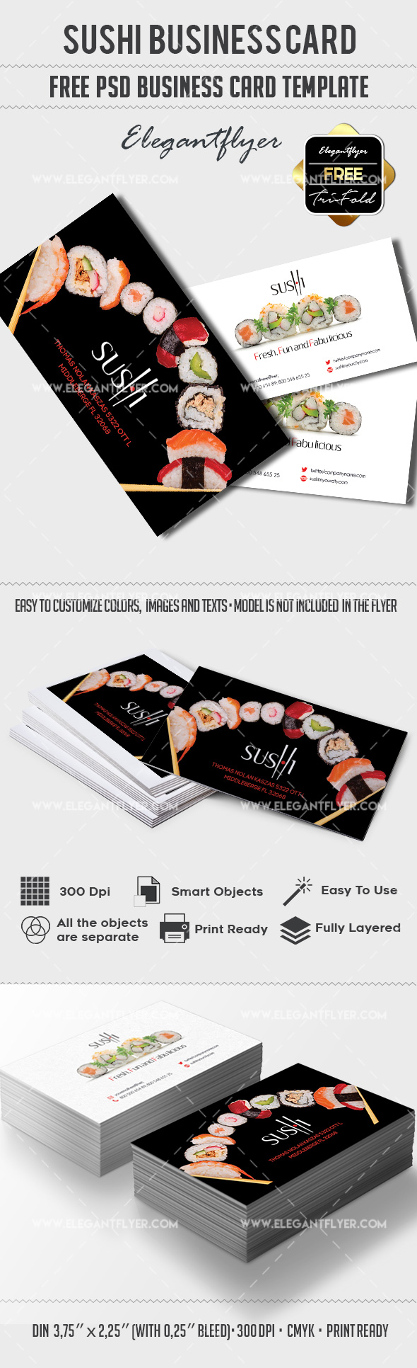 Sushi – Free Business card PSD Template