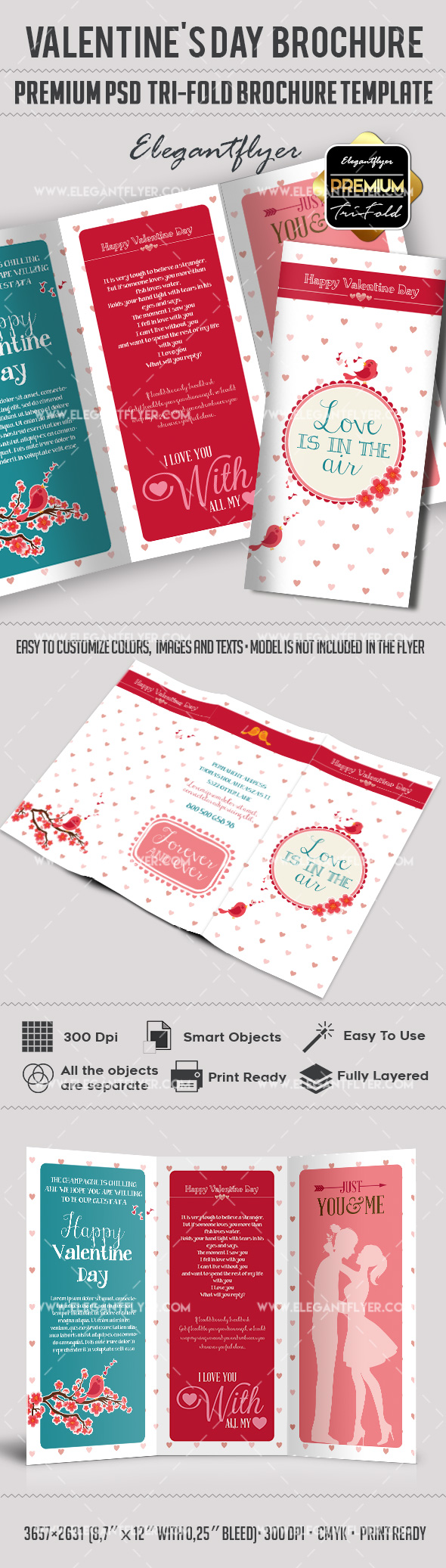 Brochure for valentines day by elegantflyer for Single page brochure templates psd
