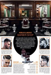 Barber Shop – Business Flyer PSD Template + Facebook Cover
