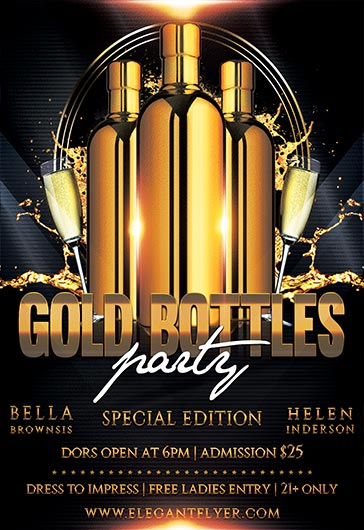Gold Bottle Party – Free Flyer PSD Template