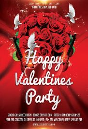 Happy Valentines Party – Flyer PSD Template + Facebook Cover