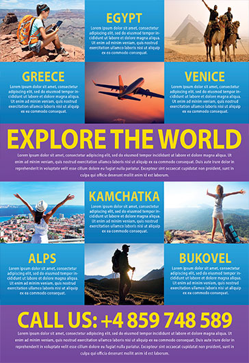 Travel  Free Psd TriFold Psd Brochure Template  By Elegantflyer