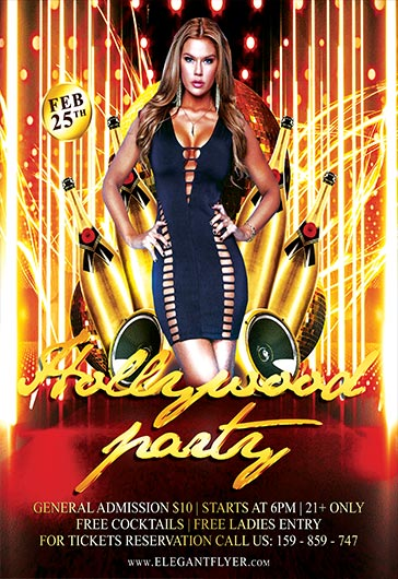 Flyer for Hollywood Theme Party