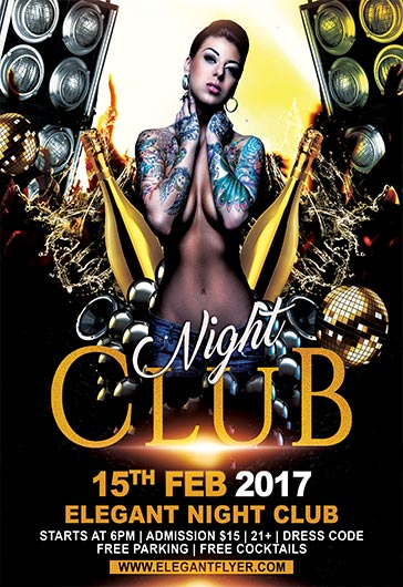 Night Club – Flyer Psd Template + Facebook Cover – By Elegantflyer