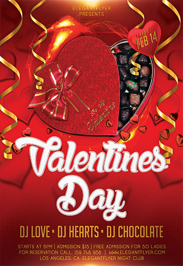 Flyer Template for Valentines Day Heart Candy
