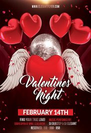 Valentines Night – Flyer PSD Template + Facebook Cover
