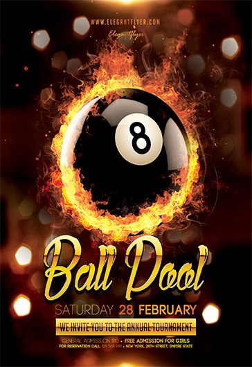 8 Ball Pool – Flyer PSD Template + Facebook Cover