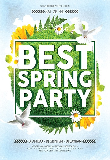 Best Spring Party – Flyer PSD Template + Facebook Cover