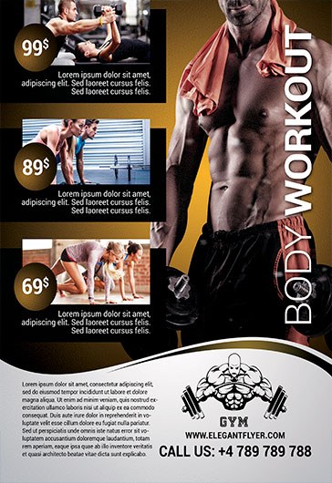 Body Workout  Flyer Psd Template  By Elegantflyer