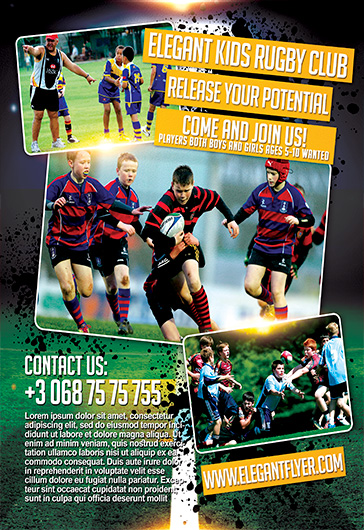 Childrens Rugby Club – Flyer PSD Template + Facebook Cover