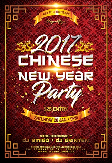 Chinese New Year Party  Flyer Psd Template  Facebook Cover  By