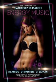 Energy Music – Free Flyer PSD Template + Facebook Cover