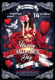 Happy Valentine's Day – Flyer PSD Template + Facebook Cover